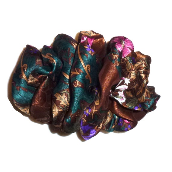 Becky Bows ~  Barrette  chiffon large vintage style scarf Hand crafted over sized  BIG hair brown teal