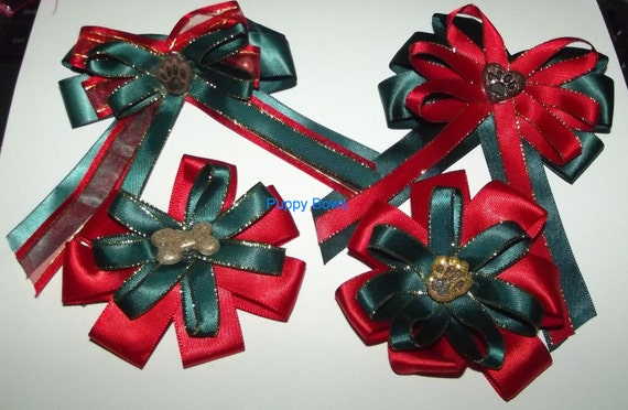 CLEARANCE SALE 50% OFF Puppy Bows ~ Extra large Christmas collar bow and matching topknot dog grooming hair bow