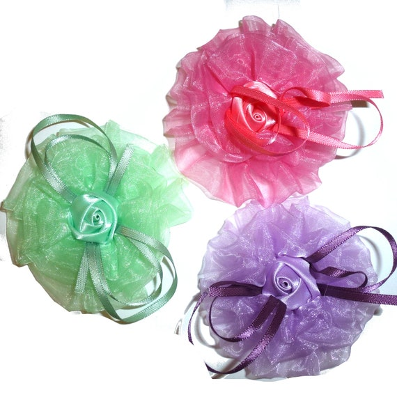 Puppy Bows ~ Dog collar slide bow large dog hair bows  green pink purple organza ruffle daisy flower (dc8)