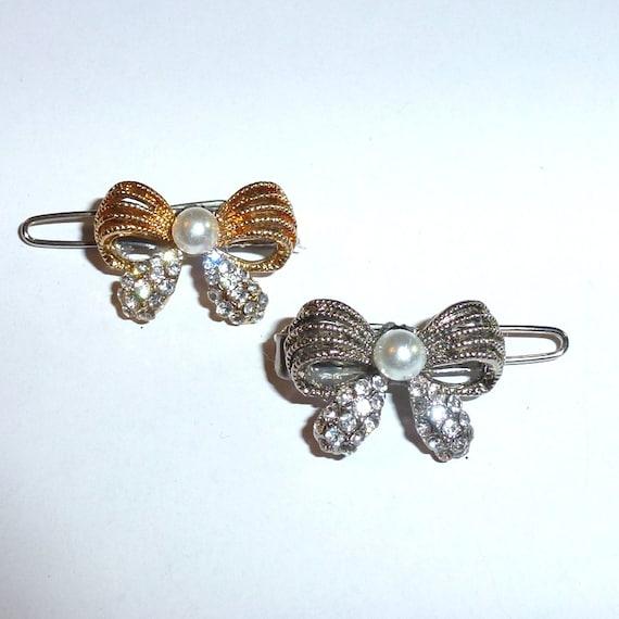 "Dog Bows  Crystal and pearl bowknot bow rhinestone  tiny  3/4"" pet hair barrette clip (TB14)"