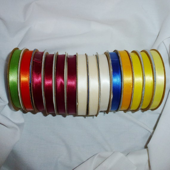 "Puppy Bows ~ ribbon craft supplies LOT 3/8"" satin ribbon 84 yards Offray (lot2)"