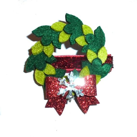 Christmas Holly wreath dog collar slide accessory  hair bows barrettes or bands (fb279)