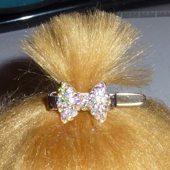 "Puppy Bows ~ TINY 3/4"" rhinestone  bowknot dog bow  pet hair clip topknot barrette diamond crystal or chocolate diamond crystals!"