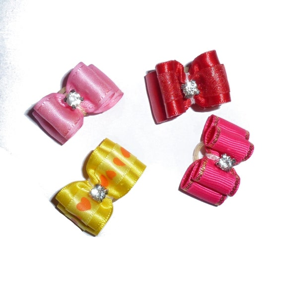"Puppy Dog Bows ~ 5/8"" satin bowknot SET OF 4! girls pet hair show bow barrettes or bands (saset4)"