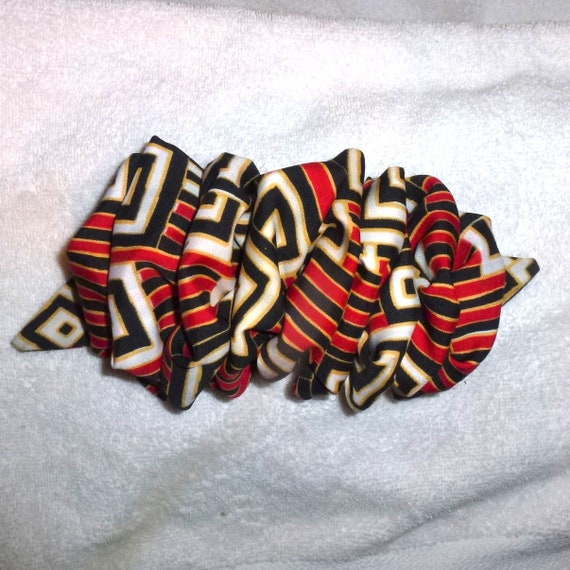 Becky Bows ~  vintage Barrette  Hand crafted over sized  BIG scarf hair bow Women or Girls  black red