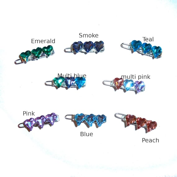 """Dog Bows  tiny faceted heart crystal rhinestones  tiny  1"""" pet hair barrette clip (TB13)"""