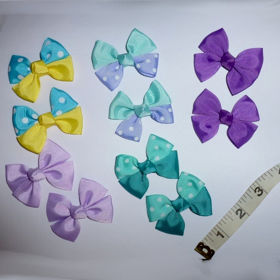 Puppy Bows ~ 8  everyday dog groomers purple teal grooming pet hair bows girl colors polka dots chevron stripes paw prints