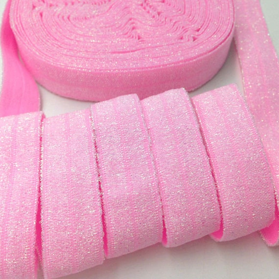 "Puppy Bows ~  craft supplies candy pink FOE fold over elastic headband glitter ribbon stretch 5/8"""