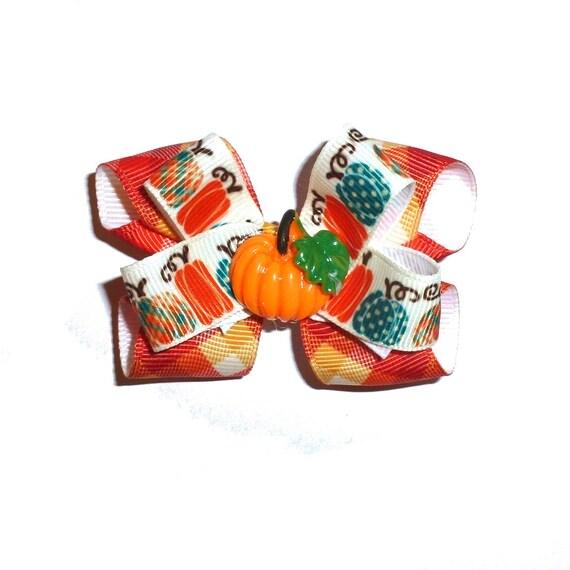 Puppy Dog Bows ~ Thanksgiving teal  orange  pumpkin harvest hair bow barrettes or bands (fb331)