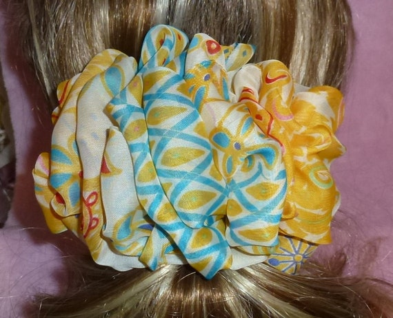 Becky Bows ~  Barrette scarf Hand crafted oversized  BIG hair bow Women or Girls yellow cream