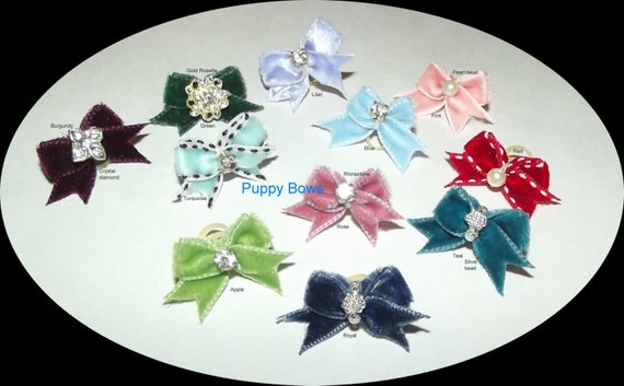 Puppy Bows ~wee tiny velvet dog bow pairs MALTESE rhinestone centers
