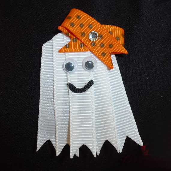 Puppy Bows ~ Halloween Ghost  dog bow  pet hair clip barrette or latex bands or collar slide (fb140)
