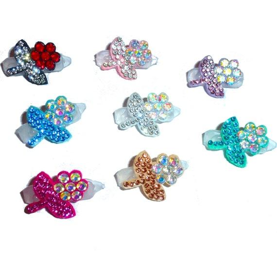 "Puppy Bows ~ tiny padded rhinestone flowers  around 1"" pet hair bow  - (fb132)"