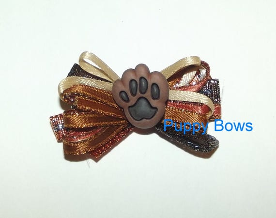 Puppy Bows ~  Copper brown paw print loopy  dog bow multi loop latex bands or barrette   (fb33)