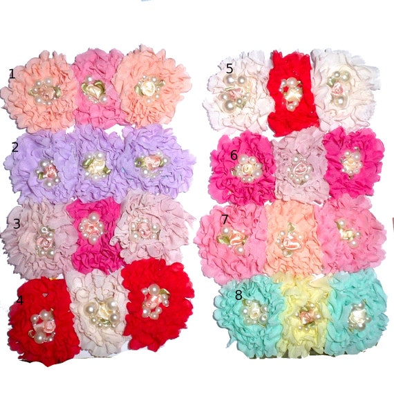 Puppy Bows ~ Dog collar slide bow large dog bow tie flower hair bows shabby chic carnations and pearls ~USA seller (fb162)