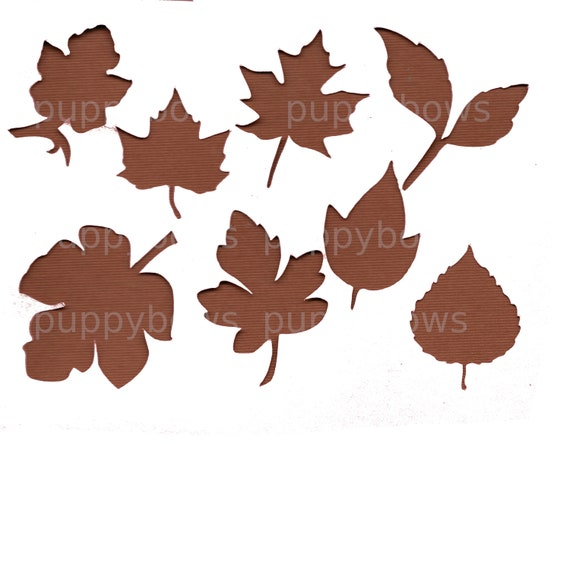 Puppy Bows ~  Thanksgiving November Autumn fall leaves maple oak falling leaf plastic craft stencil