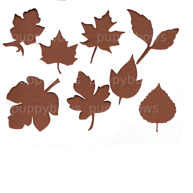 Puppy Bows ~  Thanksgiving November Autumn fall leaves maple oak falling leaf plastic craft stencil