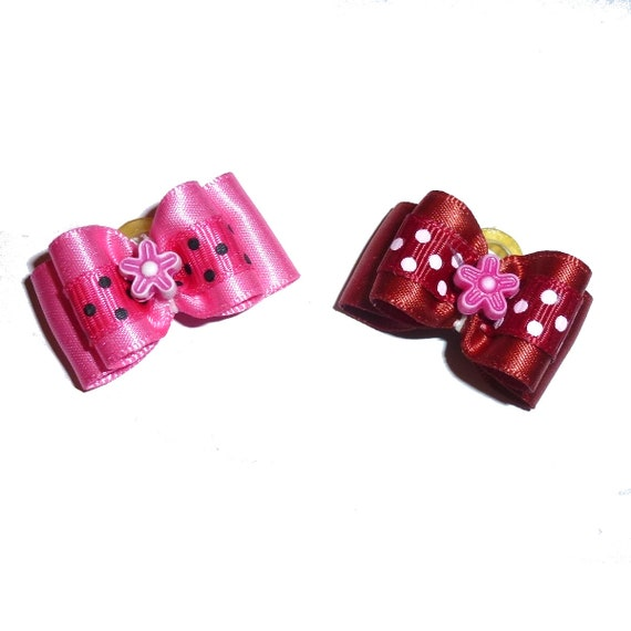"""Puppy bows ~ 7/8"""" poppy pink or cinnamon red pet hair show bow barrettes or bands (FB290b)"""
