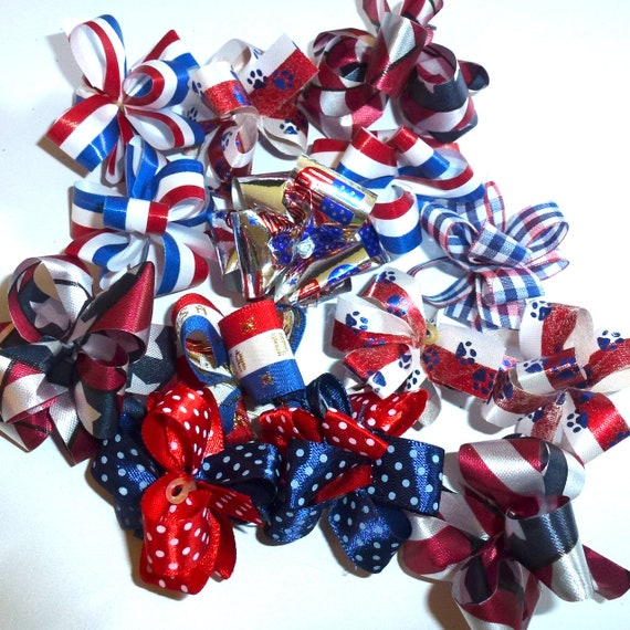 Puppy Bows ~ Party puffs 4th of July USA patriotic fancy dog grooming hair bow latex band  round bows