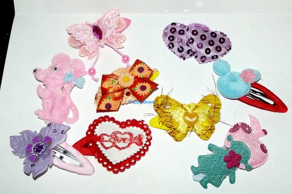 Becky's girlie bows set of 9 different snap clips pink purple flowers butterflies OOAK barrettes