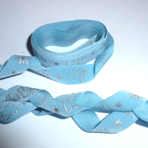 "Ribbon craft supplies 1/2"" blue velvet winter theme snowman snowflake angel stars 4 yards"