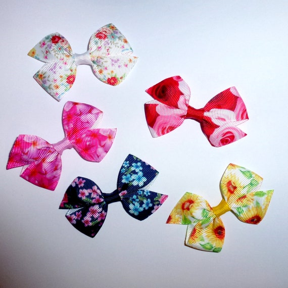 Puppy Bows ~ 5 floral roses everyday dog groomers grooming pet hair bows girl colors (fb212)
