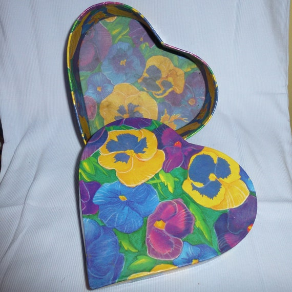 craft decorations heart shaped pansy floral viola storage box 2 small 1 large with lid