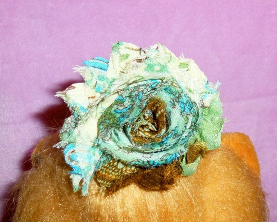 Puppy Bows ~ Shabby chic paisley peacock flower MANY assorted colors  pet hair bow barrettes or bands (fb105)