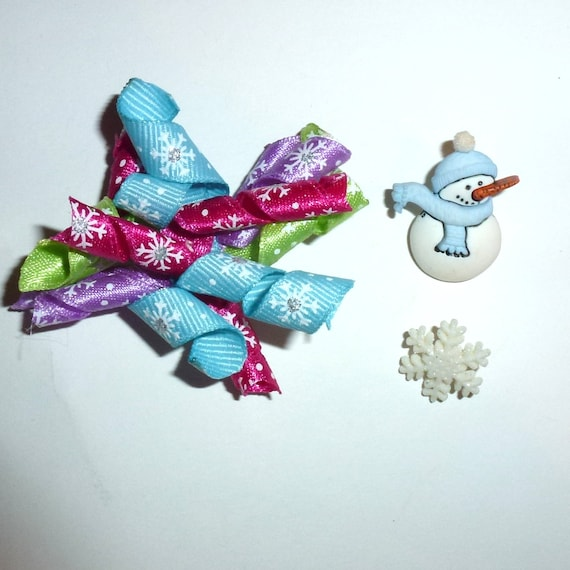 Puppy Dog Bows ~ Pink purple blue green snowflakes snowman winter  korker bow for girls barrettes or bands