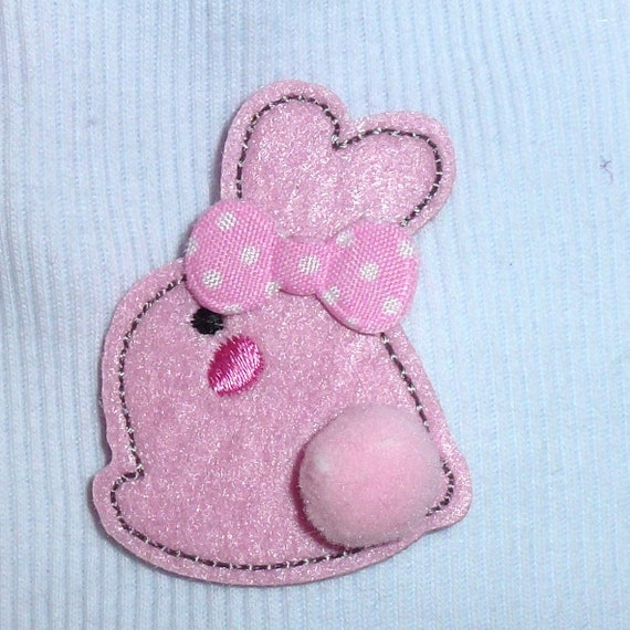 Puppy Bows ~ Pink easter bunny dog bow  pet hair clip barrette or latex bands or collar slide (fb141)