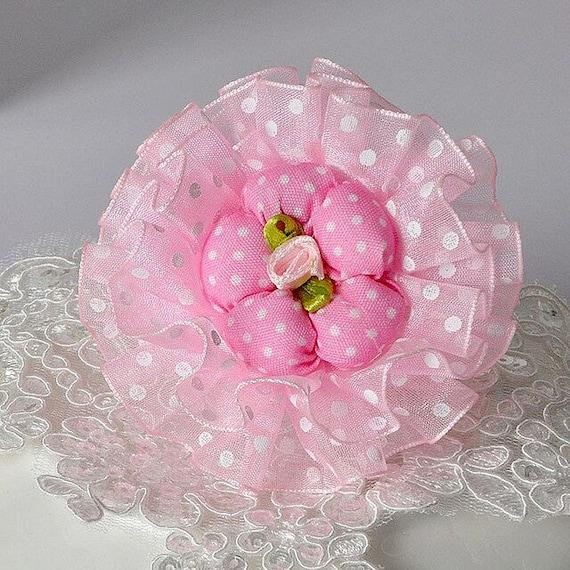 Puppy Bows ~ Dog collar slide bow large dog hair bows pink purple peach ruffled flower ~USA seller (dc10)