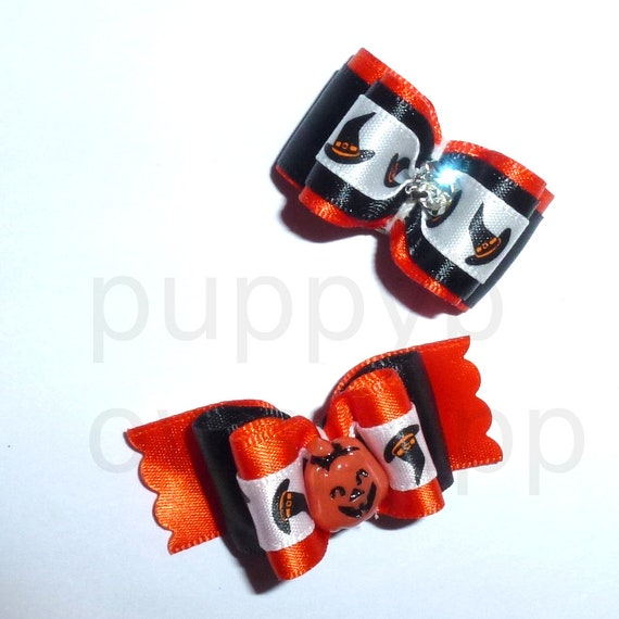 Puppy Dog Bows ~ Halloween witches hat pumpkin rhinestone  pet hair show bow barrettes or bands
