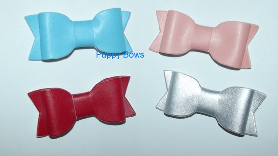 "Puppy Bows ~CLEARANCE SALE 50% OFF Big girl/boy matte finish pet bowknot 3"" dog hair pet comb clip barrette ~Usa seller"