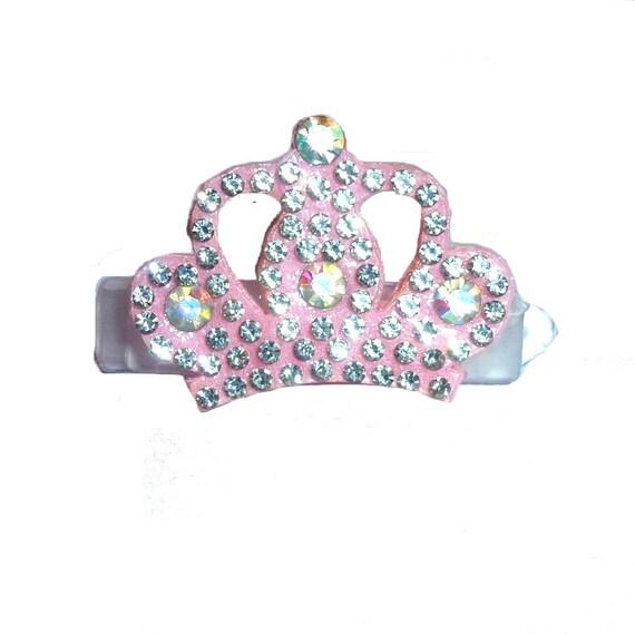 Puppy Bows ~  pink rhinestone crown   pet hair bow  - (fb177)