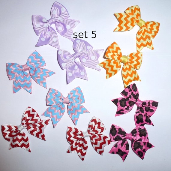 Puppy Bows ~ 10 dog bow for girls - pairs dog grooming pet hair bows - set 5