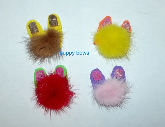 "Puppy Bows ~ Small ""my little monsters"" fuzzy pet hair barrette bands clip feather ~USA seller (fb56)"