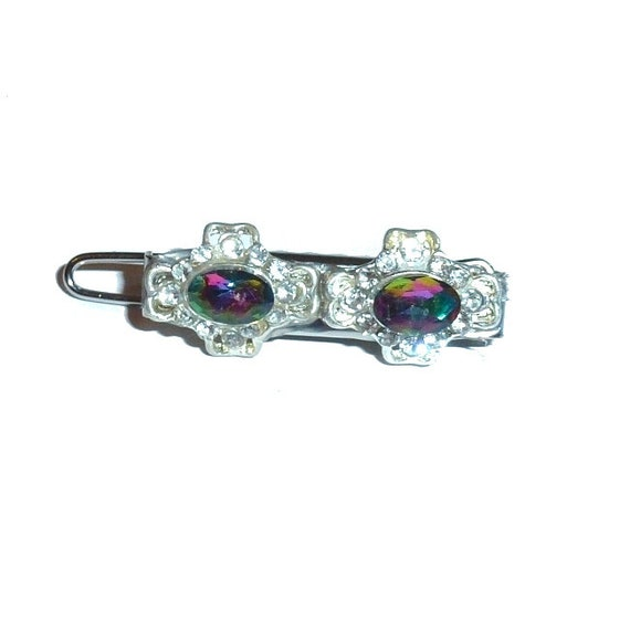 "Dog Bows purple/silver jewels  Super tiny  1"" pet hair barrette clip (TB25)"