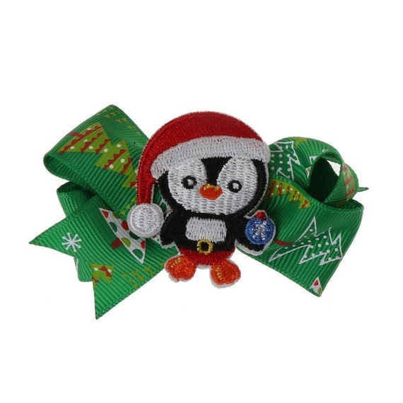 SALE 50% OFF Puppy Bows ~Christmas penguin Santa Claus dog barrette bow hair clips for pets ~USA seller (fb166)