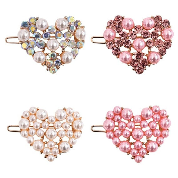 "Puppy Bows ~ TINY 1.25"" rhinestone crystal heart dog bow  pet hair clip topknot barrette 4 colors!!"