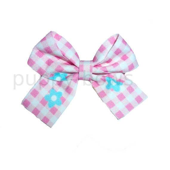 """Puppy Bows ~  Pink white daisy gingham check knot bow 3"""" big dog hair bowknot bow bands or barrette or collar slide  (fb318)"""