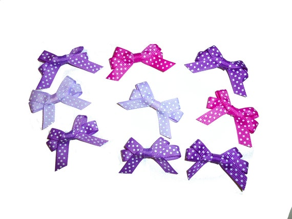 Puppy Bows ~ 10 double loop purple swiss dot tied bows pet hair clip or bands