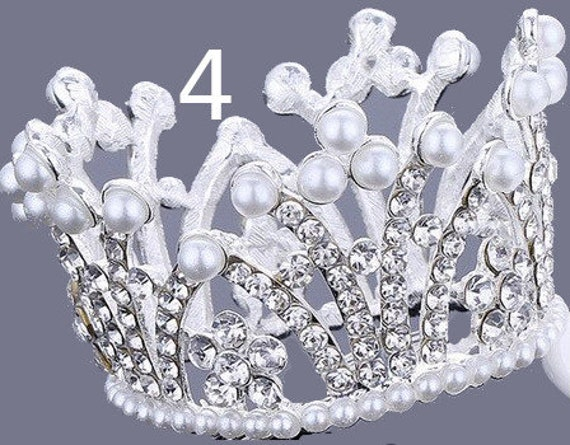 Puppy Bows ~ SPECIAL PEARL 3D silver full round tiara for dogs pet hair crown beauty pageant style barrette (fbA4)