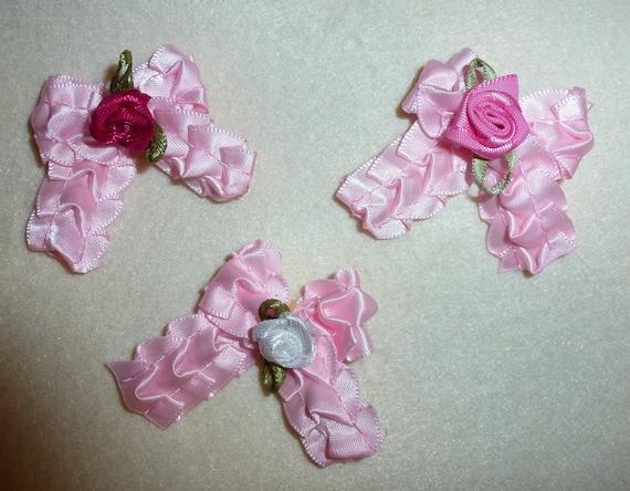Puppy Bows ~3 girls ruffled pink rose bows EVERYDAY BOWS Yorkie Maltese Shih Tzu ~Usa seller (fb101)