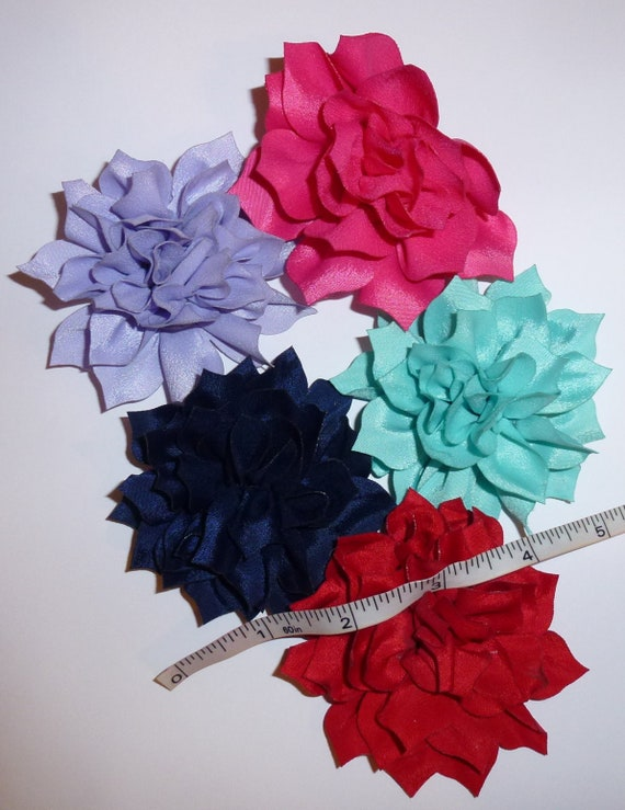 Puppy Bows ~ LOTUS flower assorted colors  pet hair bow barrettes or bands (fb103)