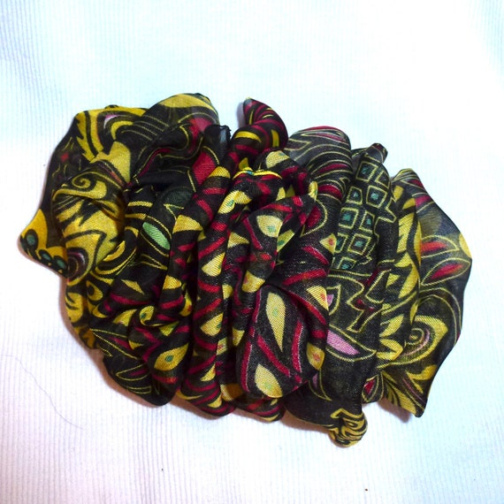 Becky Bows ~  Barrette ribbon Hand crafted over sized  BIG hair bow Women or Girls black tribal print