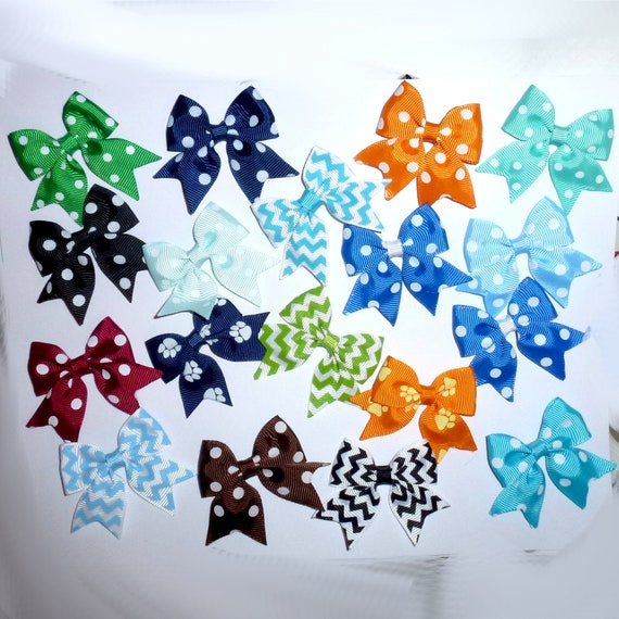 Puppy Bows ~ 18 everyday dog groomers grooming pet hair bows boy colors polka dots chevron stripes paw prints