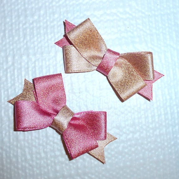 Puppy Bows TWO Pink/peach double loop dog pet  hair bowknot bow bands or barrette or collar slide  (fb118)~USA seller