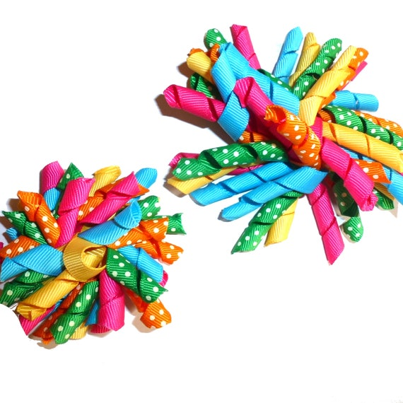 """Puppy Bows multi color dots Korker loop collar slide 4""""  dog bow 2"""" pet hair clip barrette or latex bands   (fb120)"""