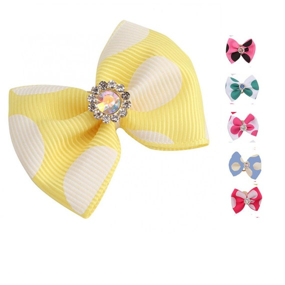 Puppy Bows ~ Polka dots pet dog hair bow set 6 bows! 6 colors! (fb19)