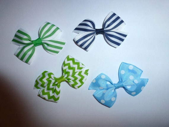 Puppy Bows ~ 4 everyday dog groomers grooming pet hair bows boy colors polka dots chevron stripes paw prints